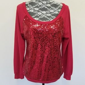 Red Sequin Front Sweater